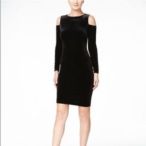 Calvin Klein Black Velvet Cold Shoulder Sheath